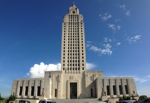 The towering Louisiana State Capitol in Baton Rouge
