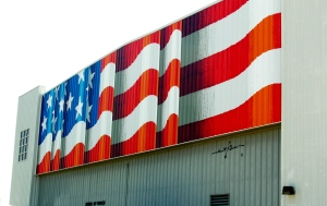 This beautifully rendered American flag was painted on the side of one of the buildings two days before!