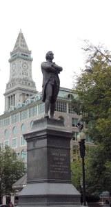 Samuel Adams watches over present day Boston
