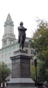 Samuel Adams watches over present day Boston