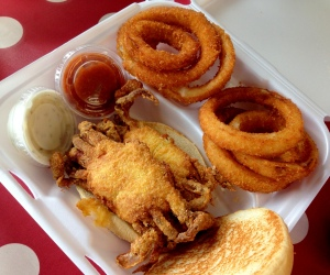 Dave's Seafood & Subs' soft-shelled fried crabs with handmade onion rings