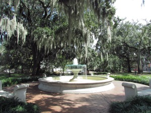 Fountain in one of the original planned parks