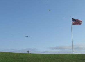 Sea winds make it easy for children flying kites in Fort Williams Park