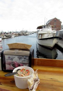 Enjoying lobster stew on the back deck of Portland Lobster Co.