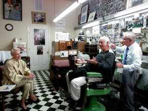 Jokes and laughter abound at Floyd's Barber Shop when visiting 89 year-old barber, Russell Hiatt!