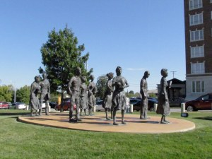 Memorial to the Little Rock Nine on the grounds of the the Arkansas State Capitol