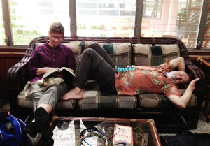 Val and Paul relaxing in the casual Tikal Inn lobby area.