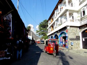 Three-wheeled tuk-tuks are plentiful in Panajachel