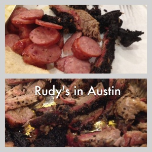 Rudy's is a casual restaurant, usually visible near a freeway.