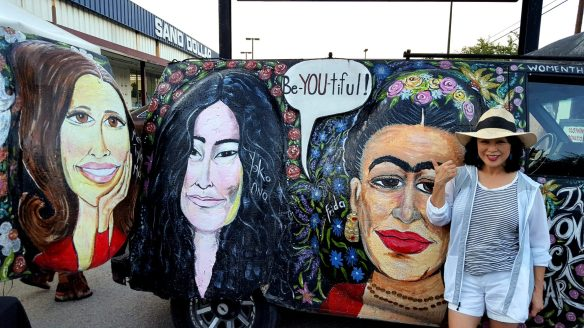 I always wanted to meet famous women! This art car gave me the opportunity to hang out with bigger-than-life portraits of Mary Tyler Moore, Yoko Ono and Frida Kahlo!