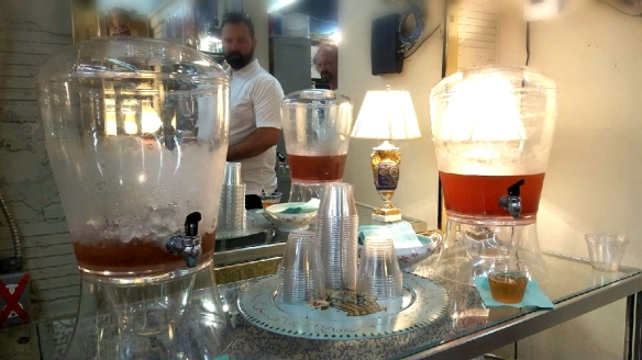 Large pitchers of complimentary iced tea in an antique shop greeted thirsty customers coming in from the Houston heat.